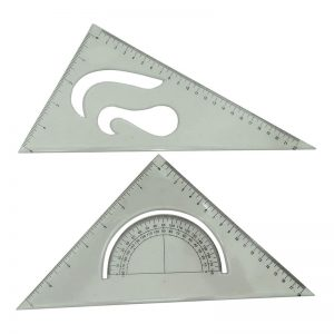 Set Square with in-built Protractor & French curves.