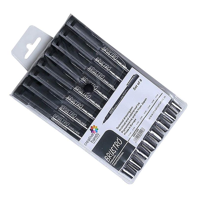Brustro Professional Pigment Based Fineliner Black Pen (Pack of 8) -