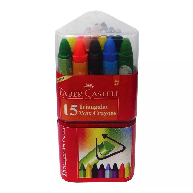 Faber Castell Grip Wax Crayons Box of 15 - August School & Office Stationery - Budding artists between the age of 3 and 6 love to experiment by drawing on different surfaces Crayons are a great way of drawing on large surgaces, with their soft stroke and bright colours Triangular shape for easy holdingThese smooth texture crayons are made with more color pigment and less wax resulting in brilliant colors.
