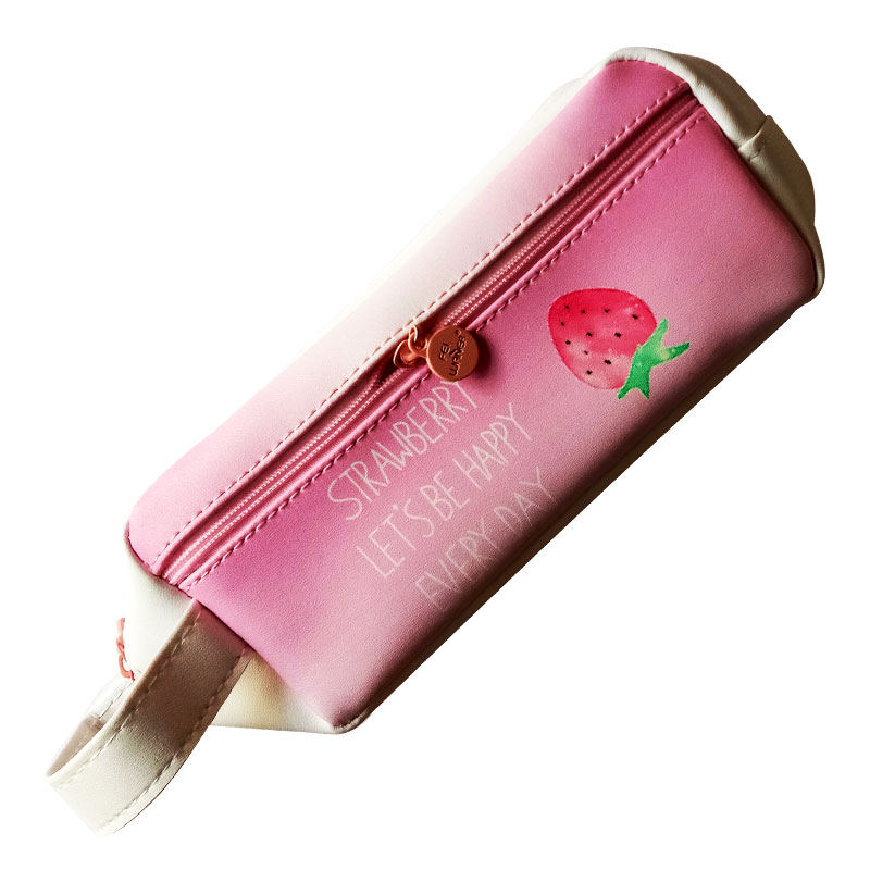 Lets Be Happy Pink Pencil Pouch
