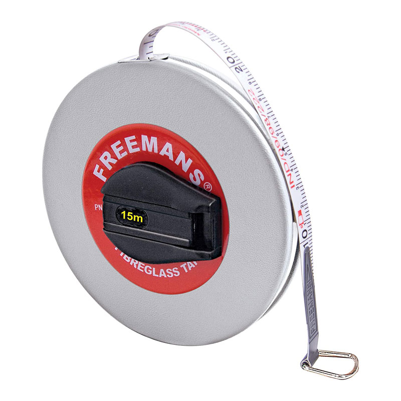 Freemans Leatherette 13mm Fibreglass Measuring Tape 15 Meters