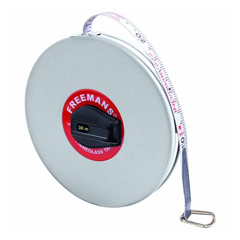 Freemans Leatherette 13mm Fibreglass Measuring Tape 30 Meters