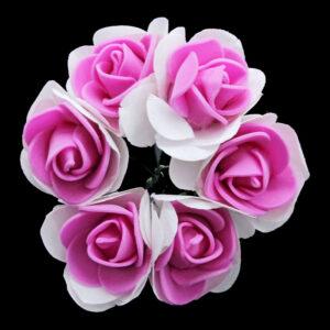 Rose Foam Flower with Stem (Bunch of 6)