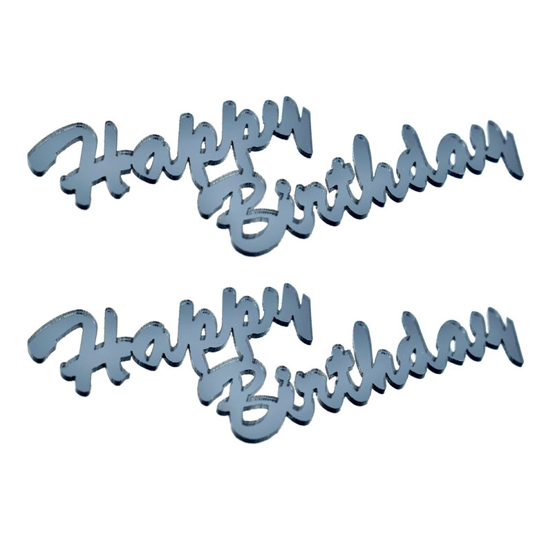 Acrylic Laser Cutout Happy Birthday (Set of 2)