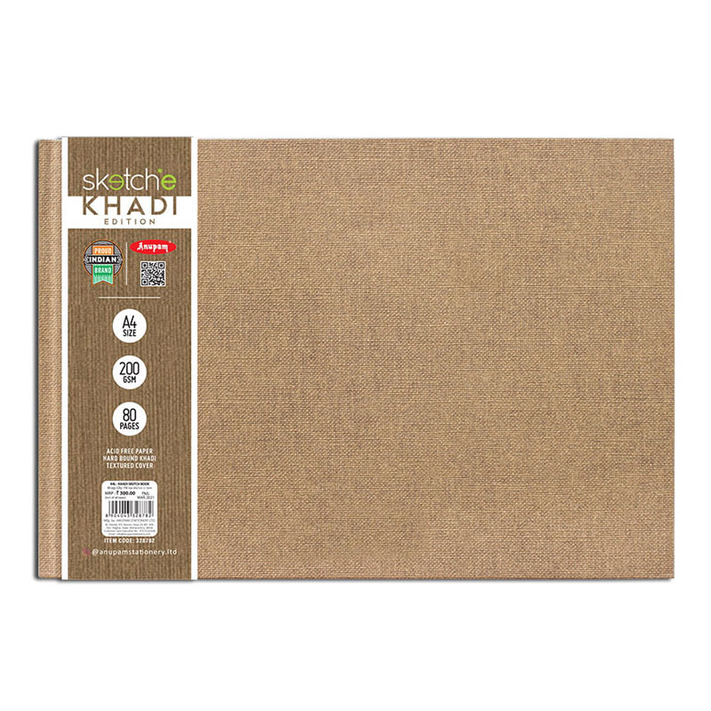 Anupam Sketch-E Khadi Edition Hard Bound Sketch Book 200 GSM