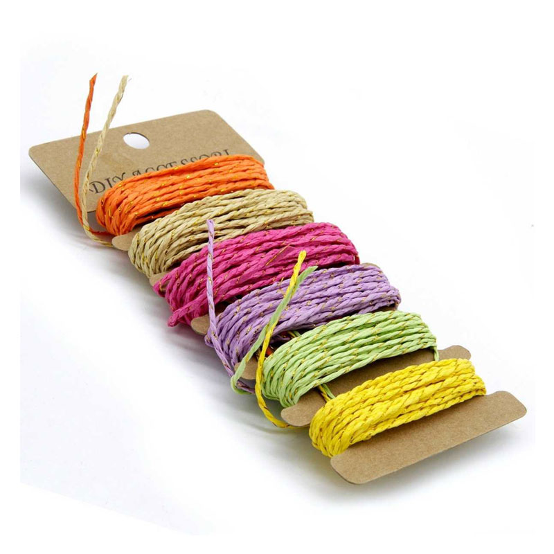 Craft Paper Rope Ribbon with Golden Thread (Set of 6)