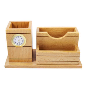 Wooden Table Top Pen Stand With Watch